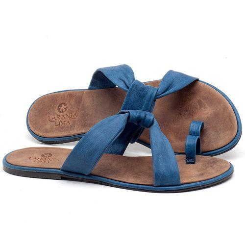 Laranja_Lima_Shoes_Sapatos_Femininos_Sandalia_Rasteira_Flat_em_Couro_Azul_-_Codigo_-_3655_1