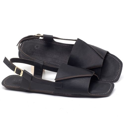 Laranja_Lima_Shoes_Sapatos_Femininos_Sandalia_Rasteira_Flat_em_Couro_Preto_-_Codigo_-_3710_1