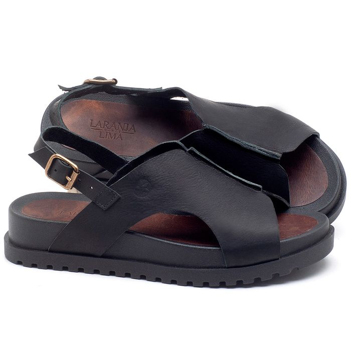 Laranja_Lima_Shoes_Sapatos_Femininos_Sandalia_Rasteira_Flat_em_Couro_Preto_-_Codigo_-_56191_1