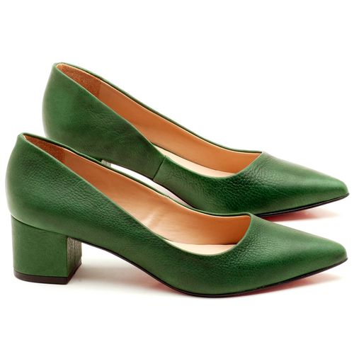 Laranja_Lima_Shoes_Sapatos_Femininos_Scarpin_Salto_Medio_de_5_cm_em_Material_Misto_Verde_-_Codigo_-_9437_1