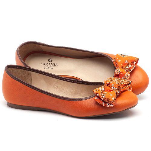 Laranja_Lima_Shoes_Sapatos_Femininos_Sapatilha_Bico_Redondo_em_Couro_Laranja_-_Codigo_-_9450_1