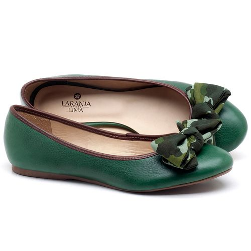 Laranja_Lima_Shoes_Sapatos_Femininos_Sapatilha_Bico_Redondo_em_Couro_Verde_-_Codigo_-_9450_1