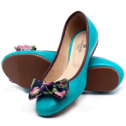 Laranja_Lima_Shoes_Sapatos_Femininos_Sapatilha_Bico_Redondo_em_Couro_Azul_-_Codigo_-_9450_2