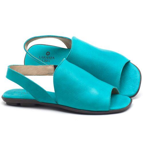 Laranja_Lima_Shoes_Sapatos_Femininos_Sandalia_Rasteira_Flat_em_Couro_Azul_-_Codigo_-_9459_1