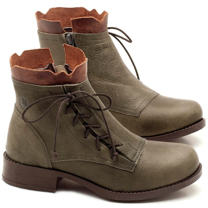 Laranja_Lima_Shoes_Sapatos_Femininos_Bota_Cano_Curto_em_Couro_Musgo_-_Codigo_-_141066_1