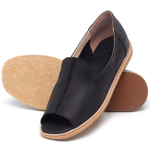 Laranja_Lima_Shoes_Sapatos_Femininos_Sandalia_Rasteira_Flat_em_Couro_Preto_-_Codigo_-_3713_2