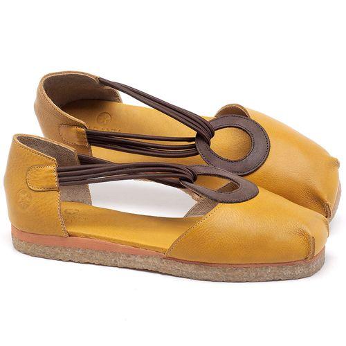 Laranja_Lima_Shoes_Sapatos_Femininos_Sapatilha_Bico_Redondo_em_Couro_Amarelo_-_Codigo_-_3057_1