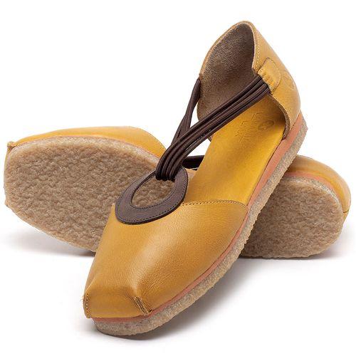 Laranja_Lima_Shoes_Sapatos_Femininos_Sapatilha_Bico_Redondo_em_Couro_Amarelo_-_Codigo_-_3057_2