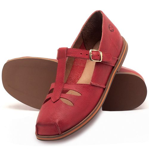 Laranja_Lima_Shoes_Sapatos_Femininos_Sapatilha_Bico_Redondo_em_Couro_Vermelho_-_Codigo_-_3051_2