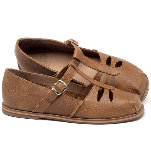 Laranja_Lima_Shoes_Sapatos_Femininos_Sapatilha_Bico_Redondo_em_Couro_Caramelo_-_Codigo_-_3051_1