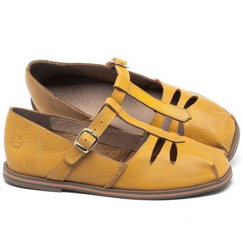 Laranja_Lima_Shoes_Sapatos_Femininos_Sapatilha_Bico_Redondo_em_Couro_Amarelo_-_Codigo_-_3051_1
