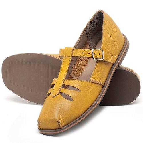 Laranja_Lima_Shoes_Sapatos_Femininos_Sapatilha_Bico_Redondo_em_Couro_Amarelo_-_Codigo_-_3051_2