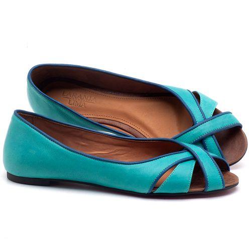Laranja_Lima_Shoes_Sapatos_Femininos_Sapatilha_Peep_Toe_em_Couro_Azul_-_Codigo_-_56186_1