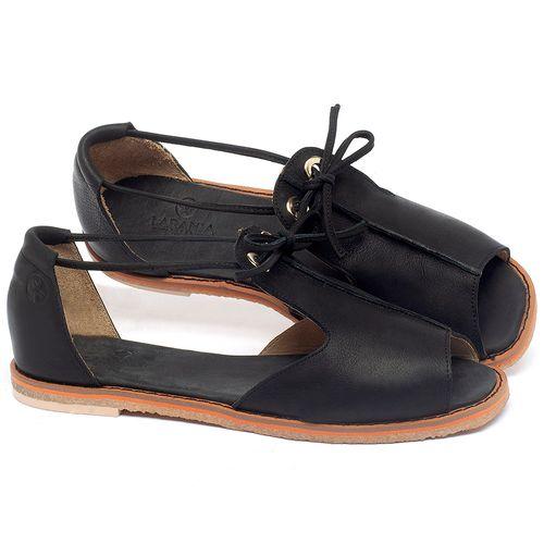 Laranja_Lima_Shoes_Sapatos_Femininos_Sandalia_Rasteira_Flat_em_Couro_Preto_-_Codigo_-_3731_1