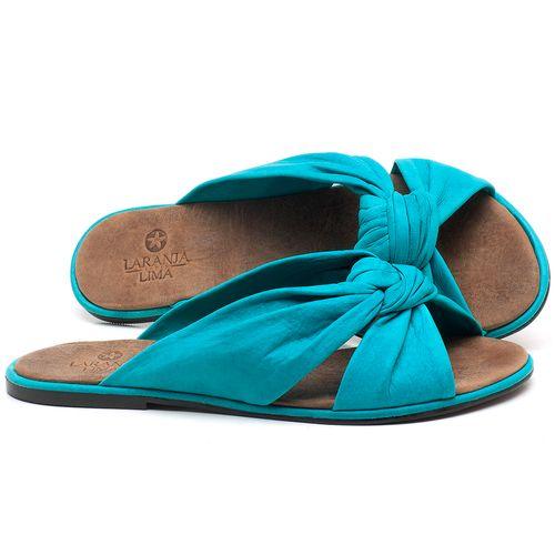 Laranja_Lima_Shoes_Sapatos_Femininos_Sandalia_Rasteira_Flat_em_Couro_Azul_-_Codigo_-_3669_1