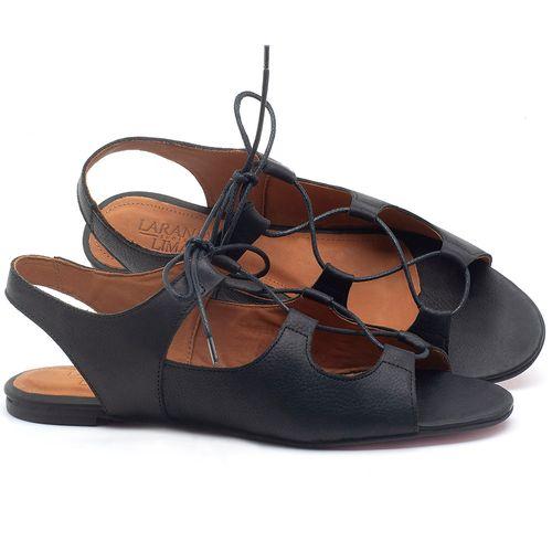 Laranja_Lima_Shoes_Sapatos_Femininos_Sandalia_Rasteira_Flat_em_Couro_Preto_-_Codigo_-_56173_1