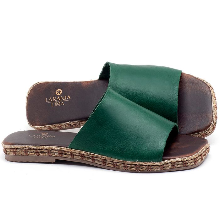 Laranja_Lima_Shoes_Sapatos_Femininos_Sandalia_Rasteira_Flat_em_Couro_Verde_-_Codigo_-_9449_1