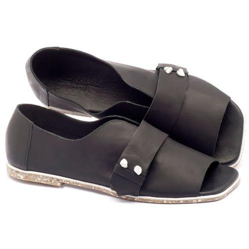 Laranja_Lima_Shoes_Sapatos_Femininos_Sandalia_Rasteira_Flat_em_Couro_Preto_-_Codigo_-_145002_1