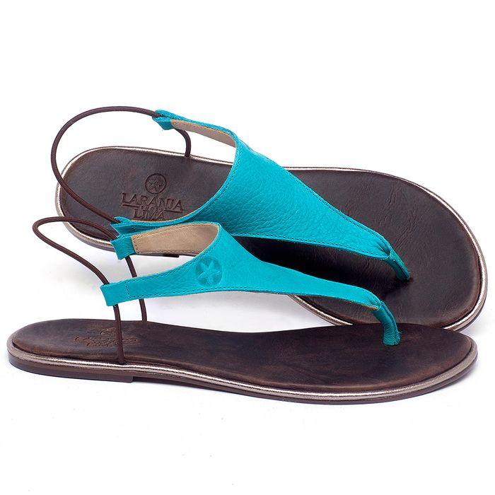 Laranja_Lima_Shoes_Sapatos_Femininos_Sandalia_Rasteira_Flat_em_Couro_Azul_-_Codigo_-_3720_1