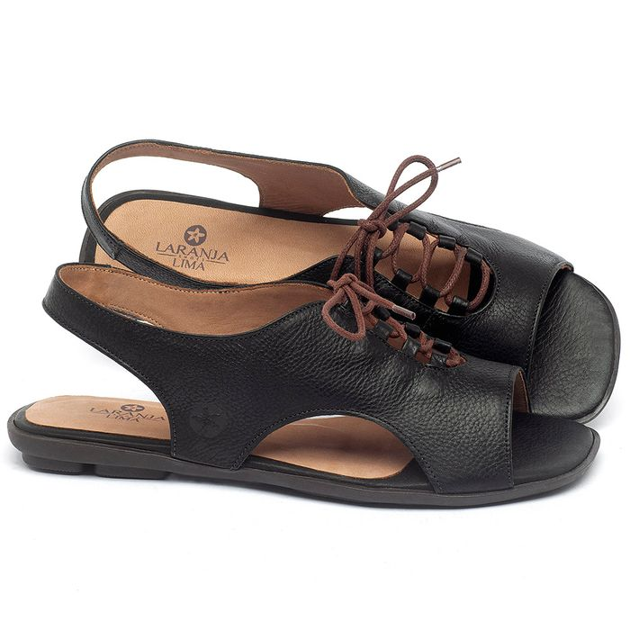 Laranja_Lima_Shoes_Sapatos_Femininos_Sandalia_Rasteira_Flat_em_Couro_Preto_-_Codigo_-_9481_1