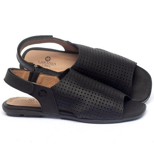 Laranja_Lima_Shoes_Sapatos_Femininos_Sandalia_Rasteira_Flat_em_Couro_Preto_-_Codigo_-_9482_1