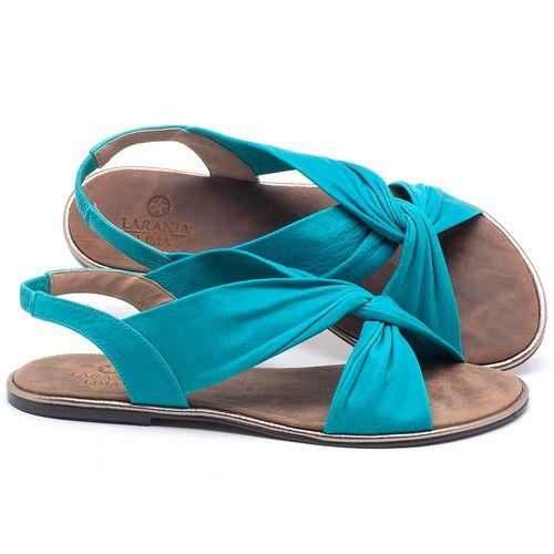 Laranja_Lima_Shoes_Sapatos_Femininos_Sandalia_Rasteira_Flat_em_Couro_Azul_-_Codigo_-_3654_1