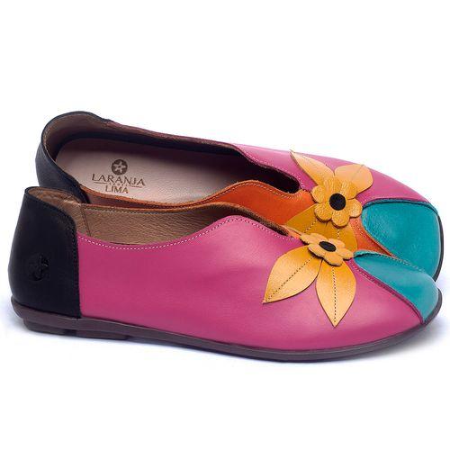 Laranja_Lima_Shoes_Sapatos_Femininos_Sapatilha_Bico_Quadrado_em_Couro_Multicolor_-_Codigo_-_9493_1