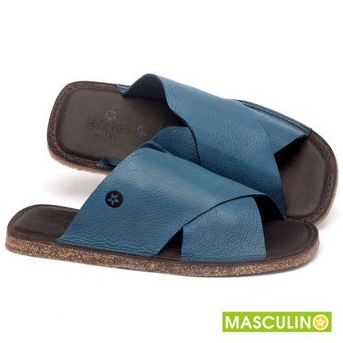 Laranja_Lima_Shoes_Sapatos_Masculinos_Rasteira_em_Couro_Azul_-_Codigo_-_141181_1