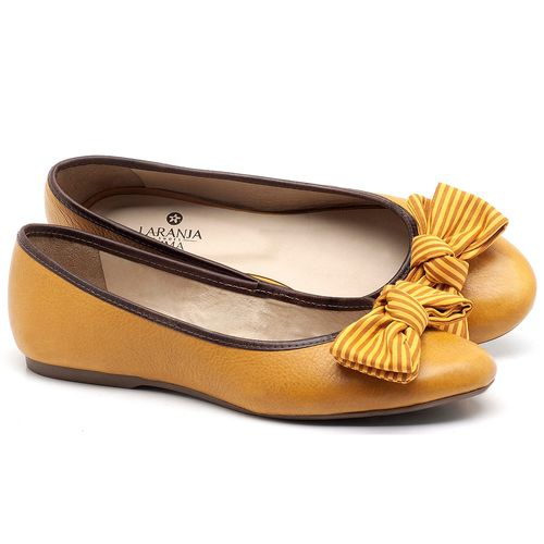 Laranja_Lima_Shoes_Sapatos_Femininos_Sapatilha_Bico_Redondo_em_Couro_Amarelo_-_Codigo_-_9450_1