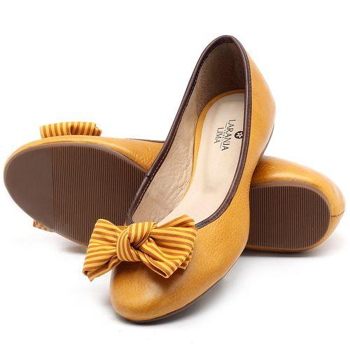 Laranja_Lima_Shoes_Sapatos_Femininos_Sapatilha_Bico_Redondo_em_Couro_Amarelo_-_Codigo_-_9450_2