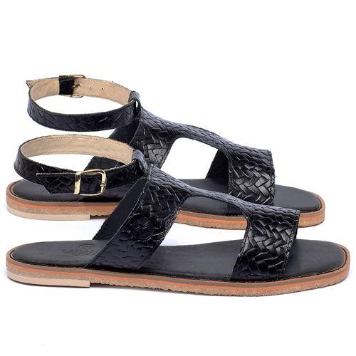 Laranja_Lima_Shoes_Sapatos_Femininos_Sandalia_Rasteira_Flat_em_Couro_Preto_-_Codigo_-_3730_1