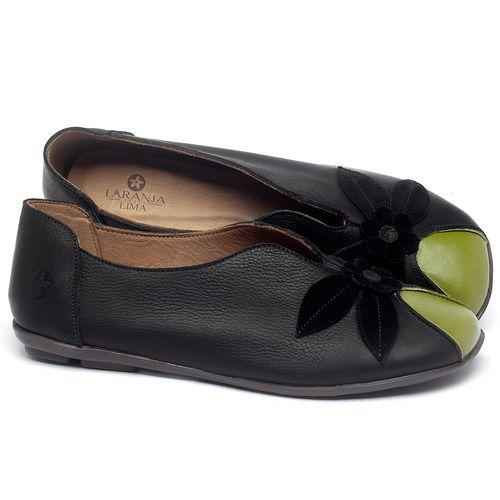 Laranja_Lima_Shoes_Sapatos_Femininos_Sapatilha_Bico_Quadrado_em_Couro_Preto_-_Codigo_-_9493_1