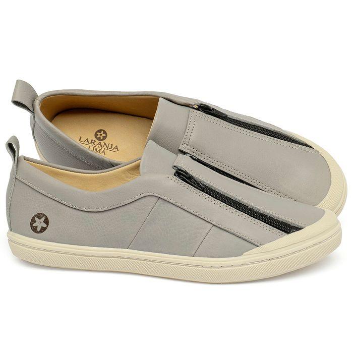 Laranja_Lima_Shoes_Sapatos_Femininos_Tenis_Cano_Baixo_em_Couro_Cinza_-_Codigo_-_9509_1