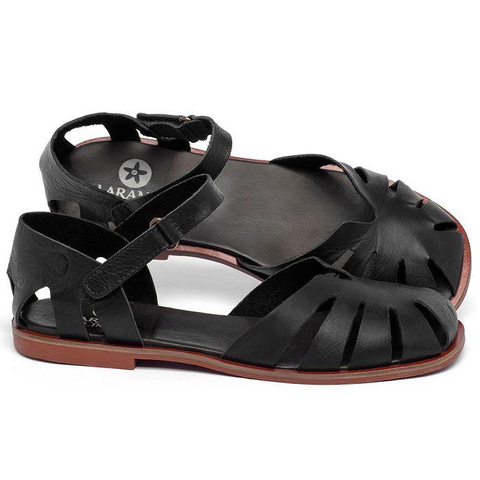 Laranja_Lima_Shoes_Sapatos_Femininos_Sandalia_Rasteira_Flat_em_Couro_Preto_-_Codigo_-_136105_1