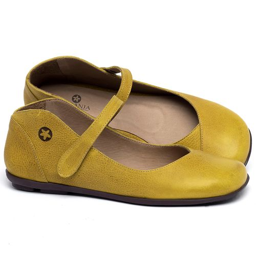 Laranja_Lima_Shoes_Sapatos_Femininos_Sapatilha_Bico_Quadrado_em_Couro_Amarelo_-_Codigo_-_9495_1